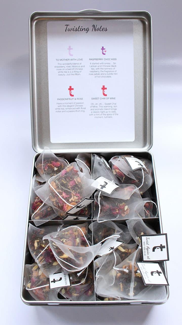 Tea Bags Inside Four Section Tea Caddy