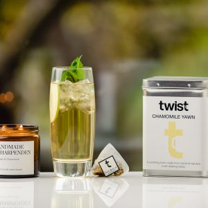 Chamomile Yawn Tea Caddy and Lavender Candle