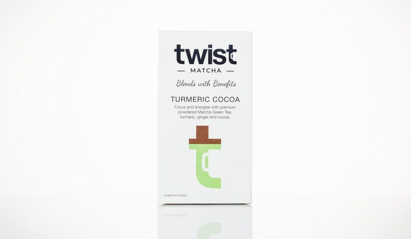 Twist Teas Turmeric Cocoa Matcha Tea Sticks Retail Packaging